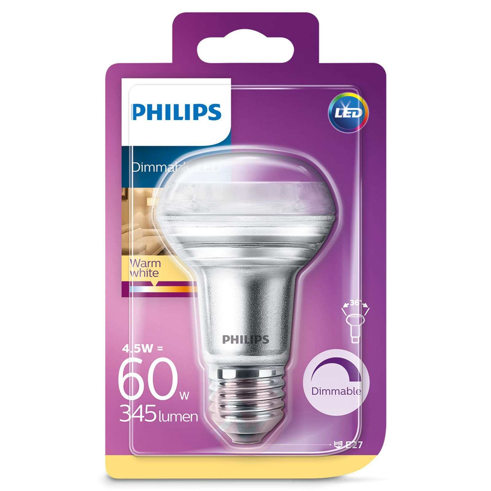 Philips E27 4,5W 827 36degree LED R63 reflektor-7530822-01