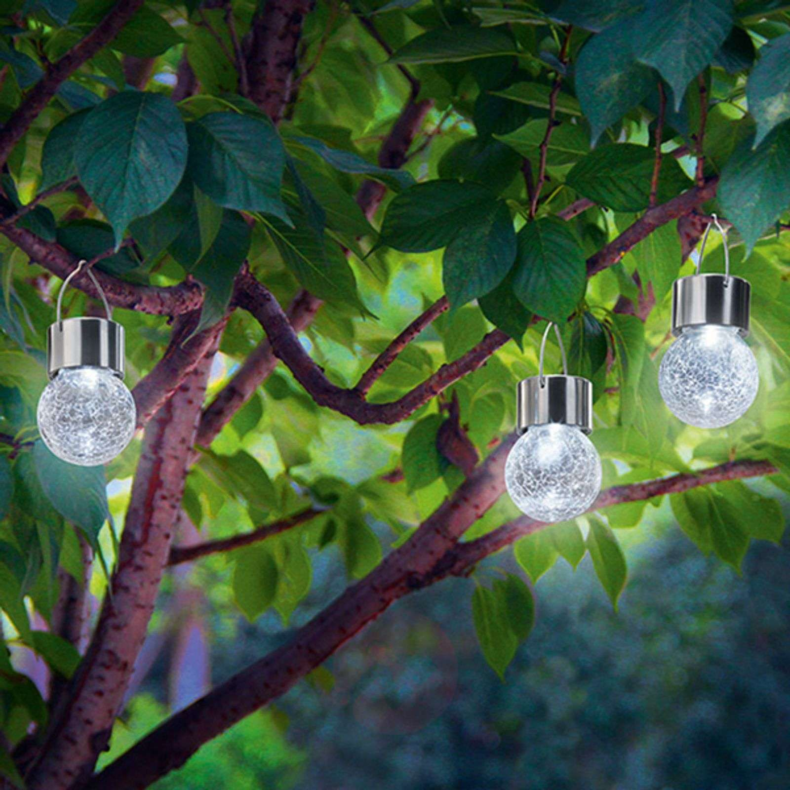 Zestaw 3 lamp solarnych LED Crackle Ball 6 000 K-3012536-01