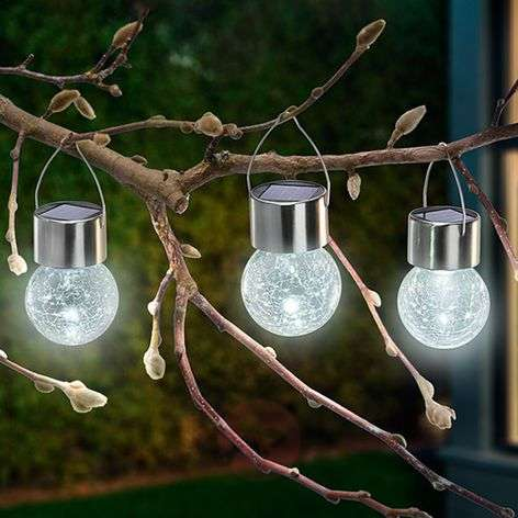 Zestaw 3 lamp solarnych LED Crackle Ball 6 000 K