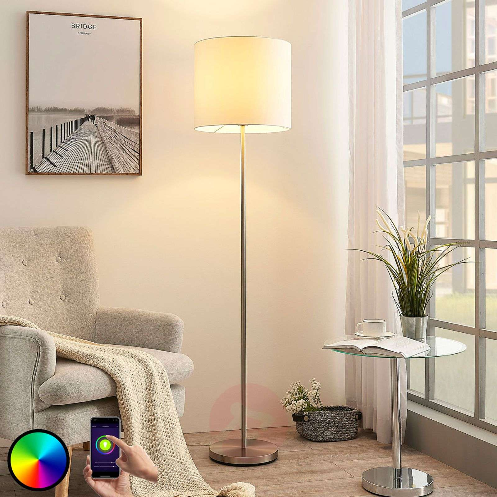 Lindby Smart lampa stojąca LED Everly, app, RGB
